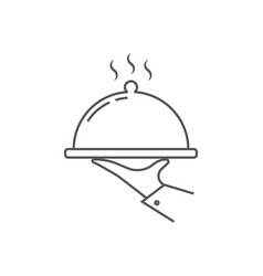 Tray in waiter hand icon simple waiter vector