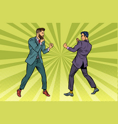 Two men businessman fighting vector
