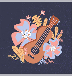 Ukulele and tropical leaves flowers wooden vector