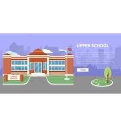 Upper School Building in Flat Style Design vector