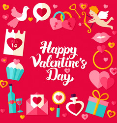 Valentines Day Lettering Poster vector image