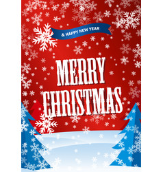 vertical red poster merry cristmastext happy new vector image