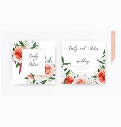 Watercolor wedding floral invite invitation trendy vector