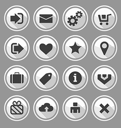 web design round buttons white set vector image