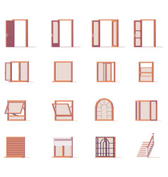 windows and doors set vector image