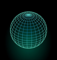 Wireframe globe model in green and blue design vector