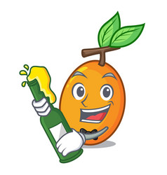 with beer sweet yellow plum isolated on mascot vector image