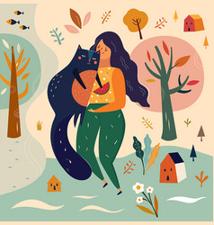 with girl and cat in cartoon s vector image