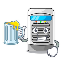 With juice air cooler isolated with cartoon vector