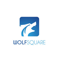 wolf square logo design template blue color vector image