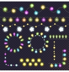 Garland light bulbs set vector image vector image