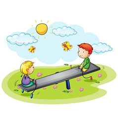 Two kids playing on seesaw in the park vector image vector image