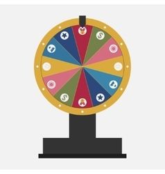 Wheel of fortune with business icons set vector image
