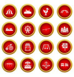 amusement park icon red circle set vector image vector image