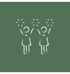 Cheerleaders icon drawn in chalk vector image vector image