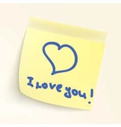 i love you paper note vector image