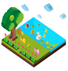 park scene with many animals in 3d design vector image