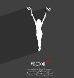 Racing pin up girl with flag symbol flat modern vector