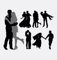 Romantic love and tenderness silhouette vector