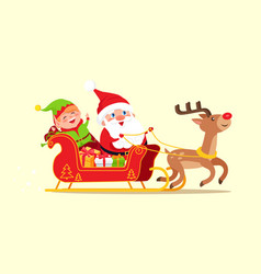 santa and elf cartoon characters riding on sleigh vector image