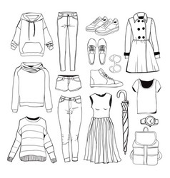 set of womens sport clothes woman clothing set vector image vector image