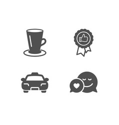 Taxi positive feedback and teacup icons dating vector