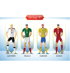 2018 soccer or football team uniform group f vector image vector image