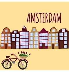 Amsterdam city flat art Travel landmark vector image