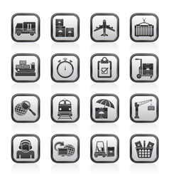 Cargo and logistic icons vector image vector image