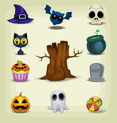 cartoon halloween stuff item cute collection set vector image