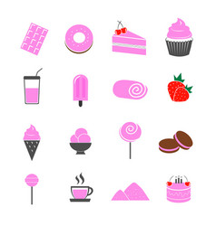 dessert strawberry flavor icons set vector image vector image