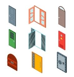 Front Doors Set Isometric View vector image
