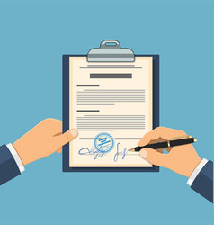 man signs agreement vector image