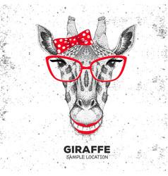 retro hipster animal giraffe hand drawing muzzle vector image vector image