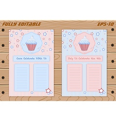 Set of templates with cute hand drawn cupcake vector image
