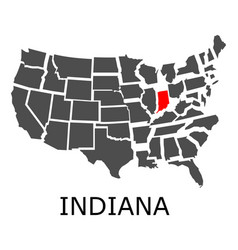 state of indiana on map of usa vector image
