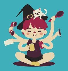 Cartoon Witch Multitasking vector image