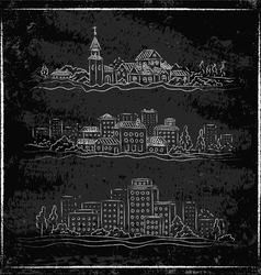City chalk vector image