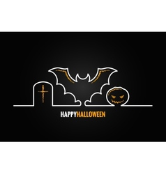 halloween pumpkin bat design background vector image vector image