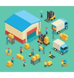 Isometric moving cargo and warehousing employees vector image