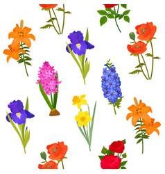 natural flower bloom iris daffodil rose wreath vector image