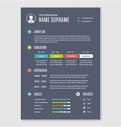 resume cv template a4 letter vector image vector image