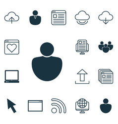 set of 16 web icons includes program website vector image vector image