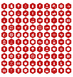 100 vegetarian cafe icons hexagon red vector