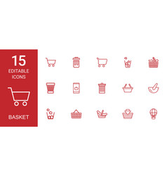 15 basket icons vector image