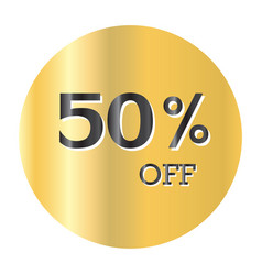 50 off discount price taggold sticker black text vector