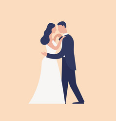 adorable dancing newlyweds isolated on light vector image