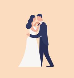 Adorable dancing newlyweds isolated on light vector