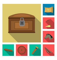 Attributes of the wild west flat icons in set vector