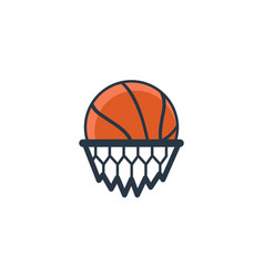 Basketball and net and in the ne vector